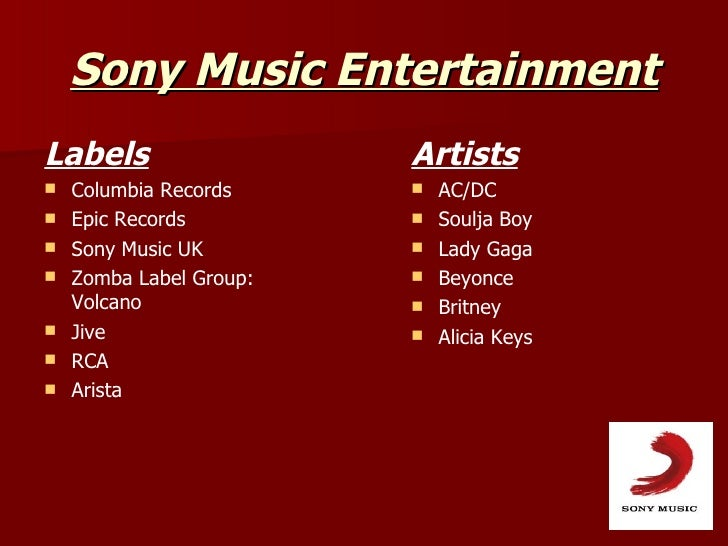 Major record company presentation for Music entertainment