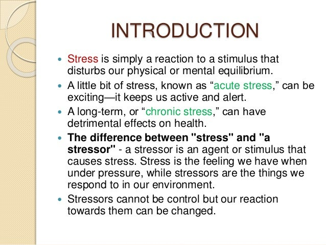 the main sources and symptoms of stress Stress is a function of the demands placed on us and our ability to meet them these demands often come from outside sources, such as family, jobs, friends, or school.