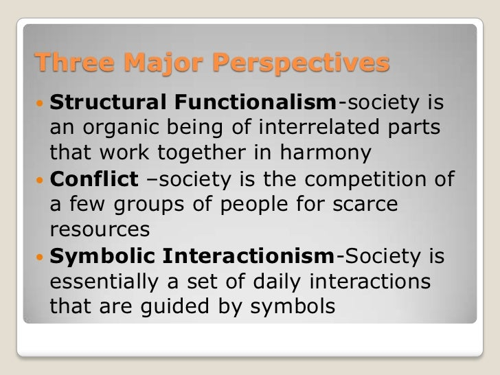 the three major perspectives of sociology Comparing basic and applied sociology the foundations  contributed an  evolutionary perspective on social order and social change social darwinism.