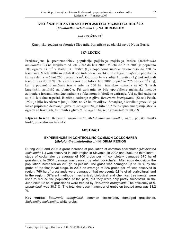 Zbornik predavanj in referatov 8. slovenskega posvetovanja o varstvu rastlin   72                                         ...