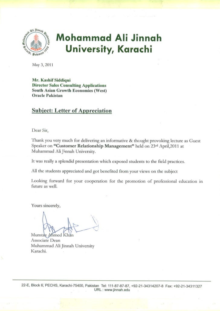 Letter Of Appreciation For Lecture  Letter Of Appreciation