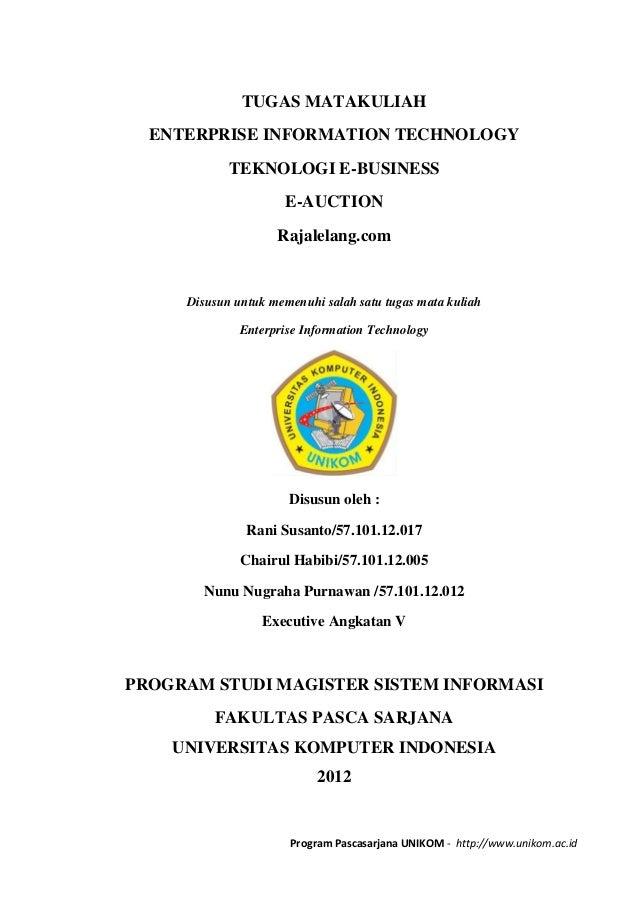 TUGAS MATAKULIAH  ENTERPRISE INFORMATION TECHNOLOGY            TEKNOLOGI E-BUSINESS                      E-AUCTION        ...