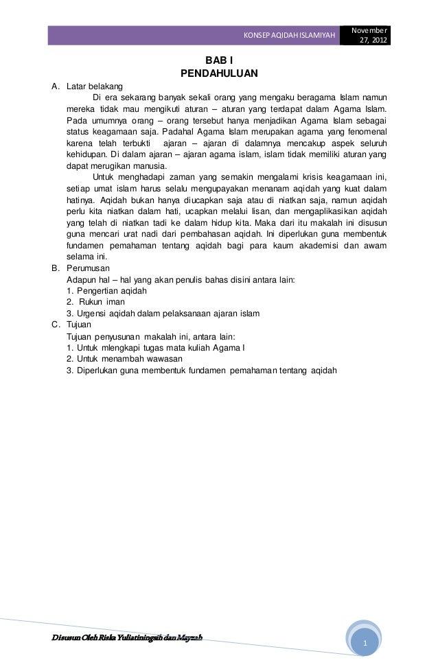 Makalah Konsep Aqidah Islamiyah