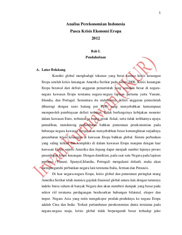 1                    Analisa Perekonomian Indonesia                      Pasca Krisis Ekonomi Eropa                       ...