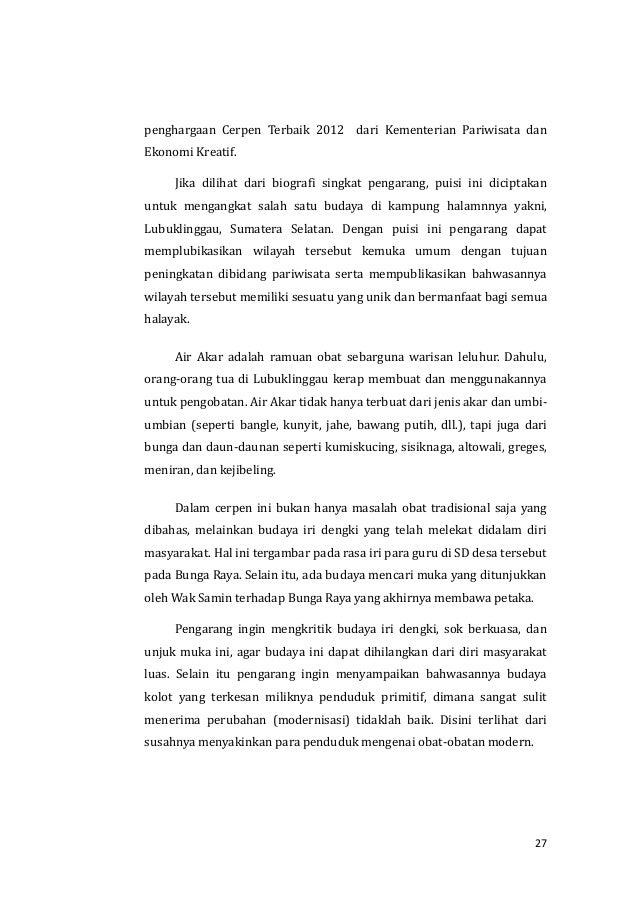 Analisis Cerpen Air Akar Karya Benny Arnas