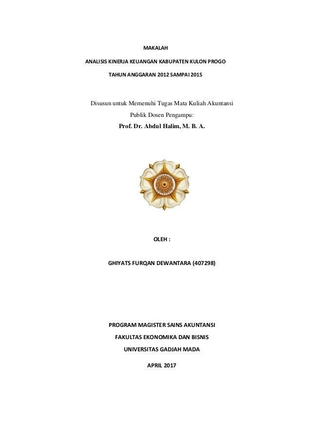Makalah Analisis Kinerja Keuangan Kab Kulon Progo Tahun Anggaran 201
