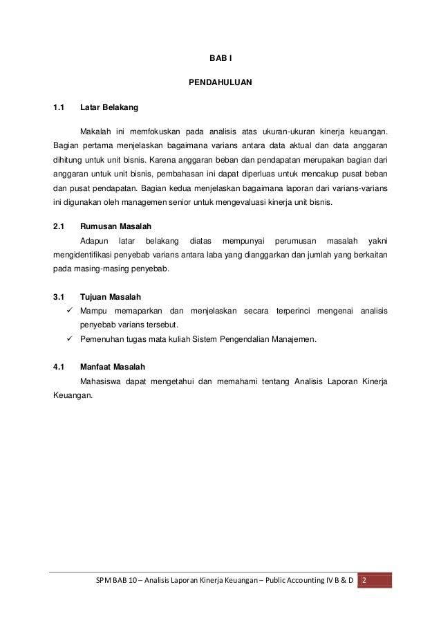 Makalah Analisis Laporan Kinerja Keuangan Bab10