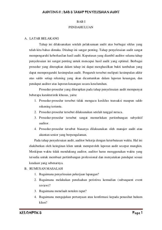 Makalah Auditing Ii Kelompok 8 Tahap Penyelesaian Audit Jiantari C 3