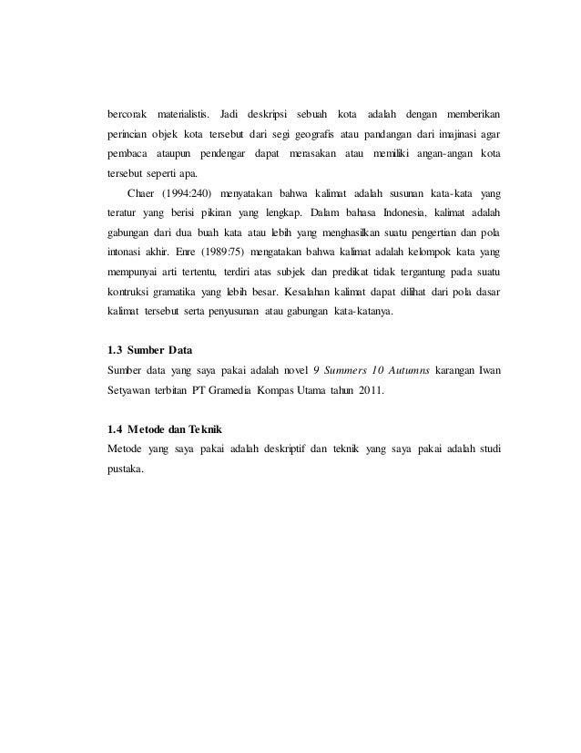 Makalah Bahasa Indonesia Novel 9 Summers 10 Autumns