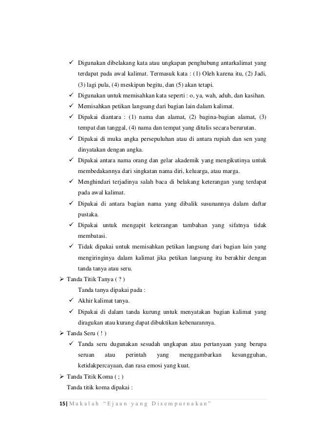 Makalah Bahasa Indonesia Ejaan Yang Disempurnakan