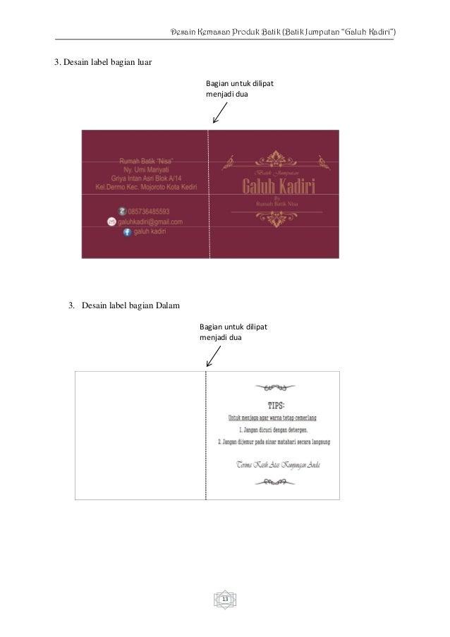 """Desain Kemasan Produk Batik Jumputan """"Galuh Kadiri"""""""