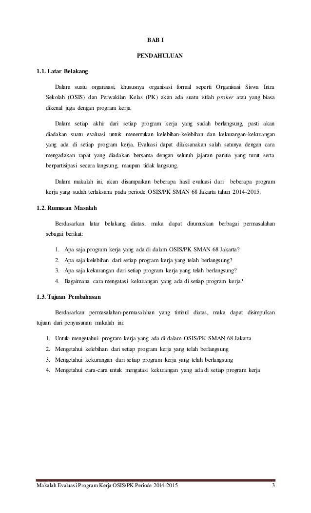 Makalah Evaluasi Program Kerja Osis Pk Vip Sman 68 Jakarta