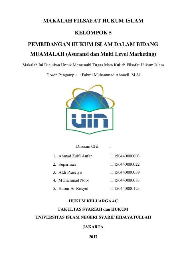 Makalah Filsafat Hukum Islam Tentang Asuransi Syariah Dan Multi Level