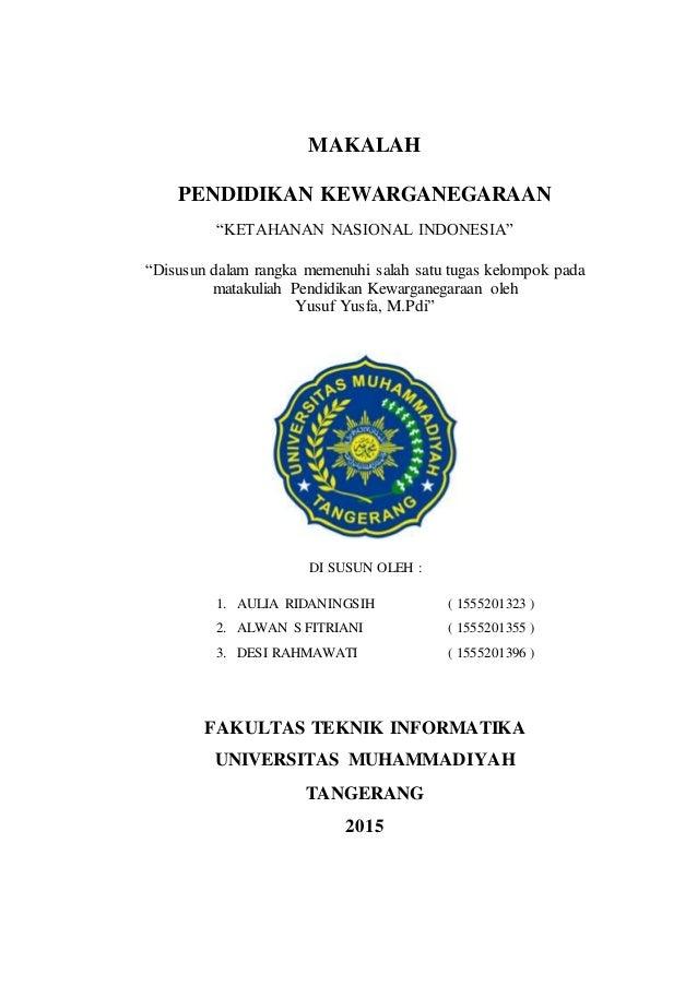Makalah Pkn Tentang Ketahanan Nasional Di Indonesia
