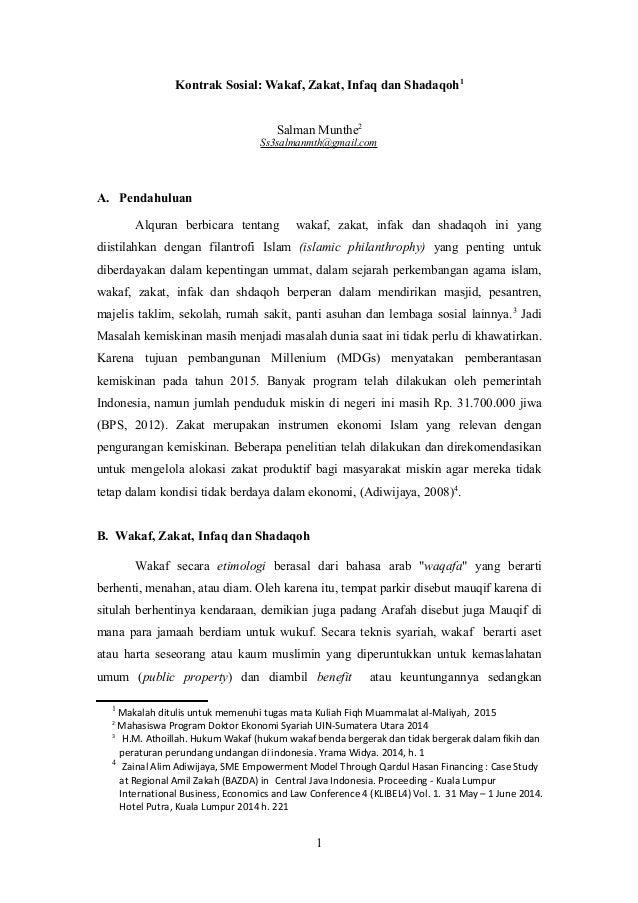 Kontrak Sosial Wakaf Zakat Infaq Dan Shadaqoh
