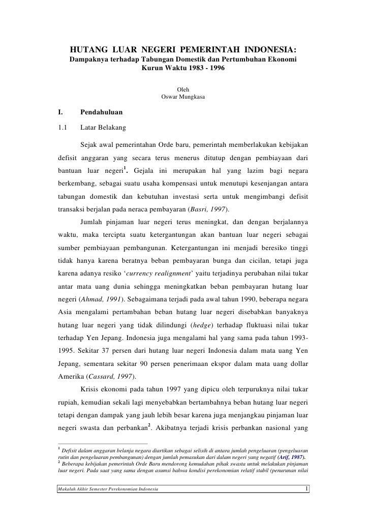 HUTANG LUAR NEGERI PEMERINTAH INDONESIA:      Dampaknya terhadap Tabungan Domestik dan Pertumbuhan Ekonomi                ...