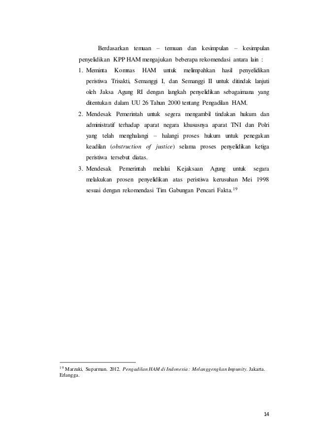 Makalah Hukum Dan Ham Studi Kasus Trisakti Uin Suka