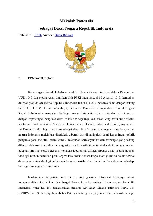Makalah Mengenai Pancasila Sebagai Ideologi Negara Indonesia