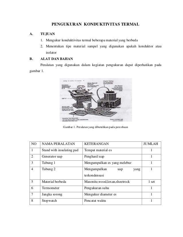 PENGUKURAN KONDUKTIVITAS TERMALA.    TUJUAN      1. Mengukur konduktivitas termal beberapa material yang berbeda      2. M...