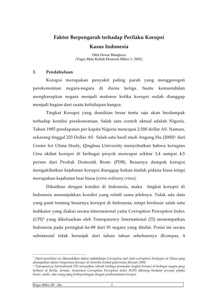 Faktor Berpengaruh terhadap Perilaku Korupsi                                       Kasus Indonesia                        ...