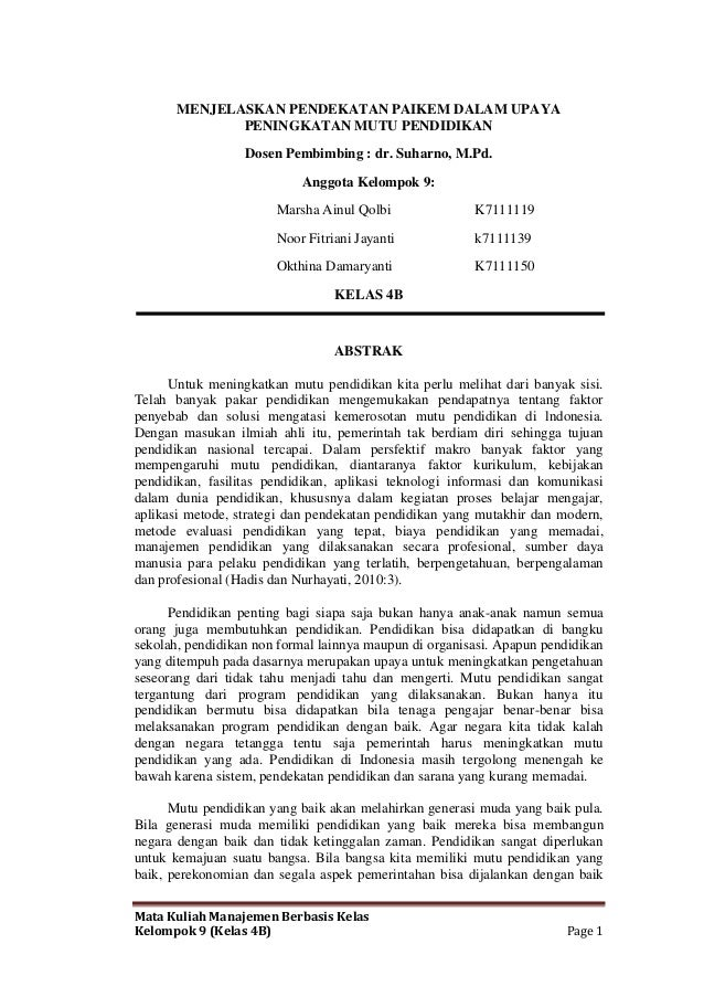 Mata Kuliah Manajemen Berbasis Kelas Kelompok 9 (Kelas 4B) Page 1 MENJELASKAN PENDEKATAN PAIKEM DALAM UPAYA PENINGKATAN MU...