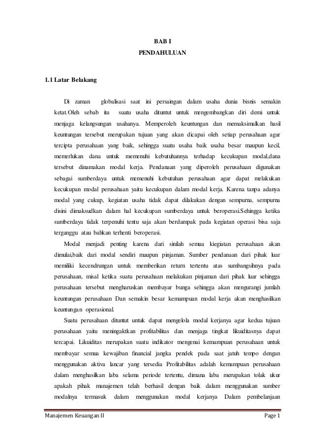 Bab 1 Pendahuluan Skripsi Manajemen Keuangan Ide Judul Skripsi Universitas