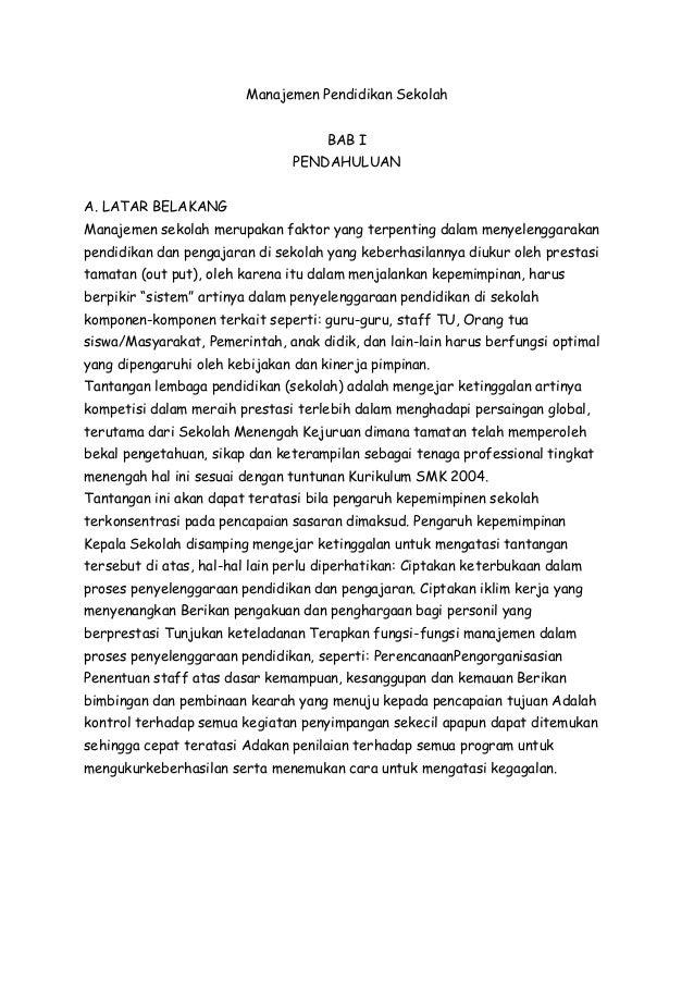 Makalah Manajemen Pendidikan Sekolah Sma 1 Raha Kabupaten Muna