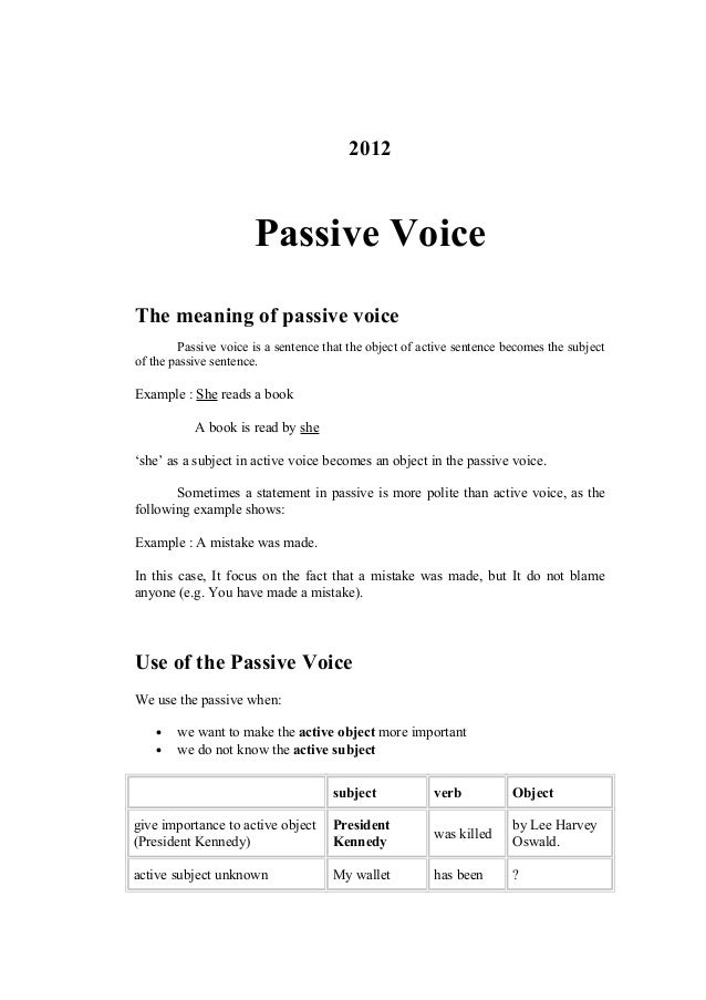 Master thesis passive voice