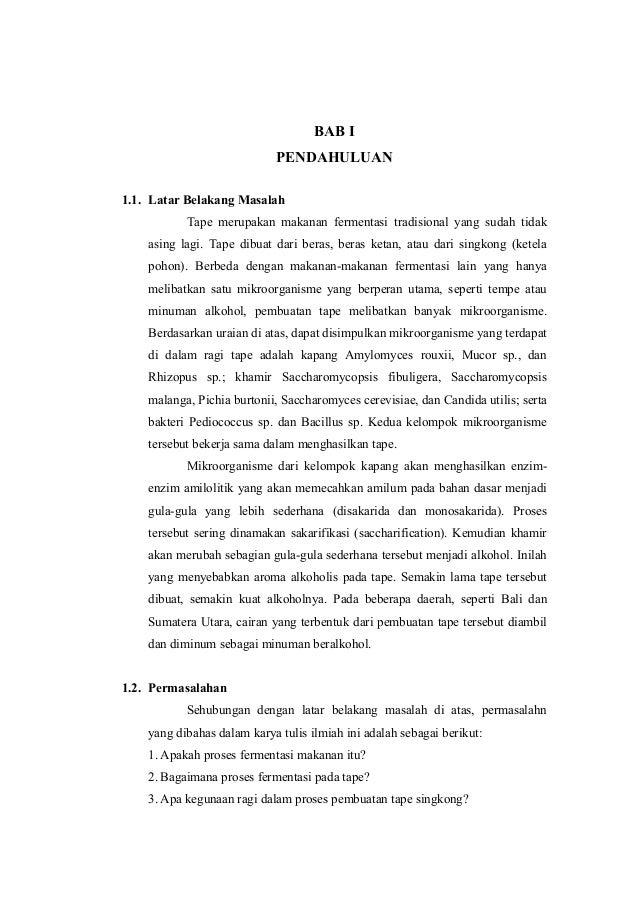 Makalah Penelitian Tentang Fermentasi Pada Tape Singkong