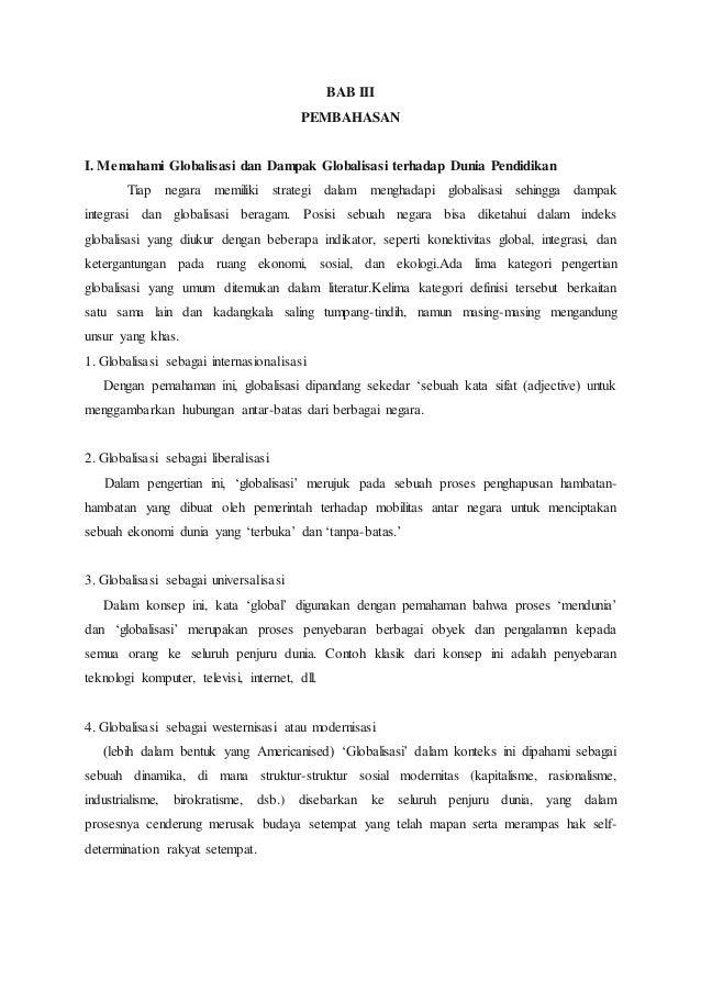 Makalah Pengaruh Globalisasi Terhadap Pendidikan Indonesia