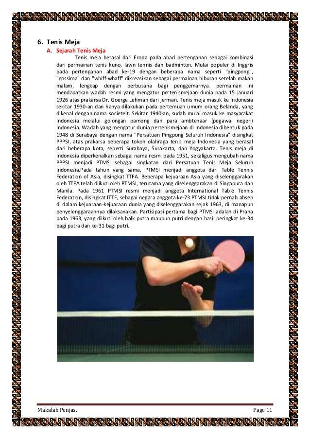 Contoh Kliping Olahraga Tenis Meja