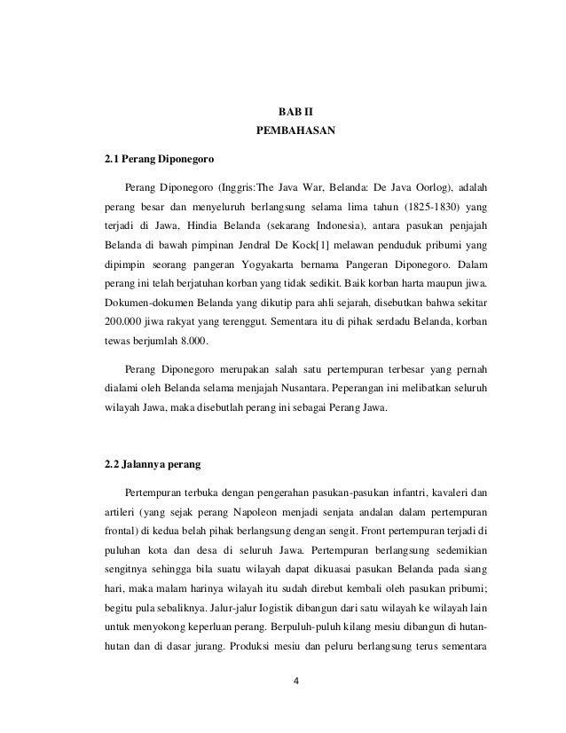 BAB II                                  PEMBAHASAN2.1 Perang Diponegoro    Perang Diponegoro (Inggris:The Java War, Beland...