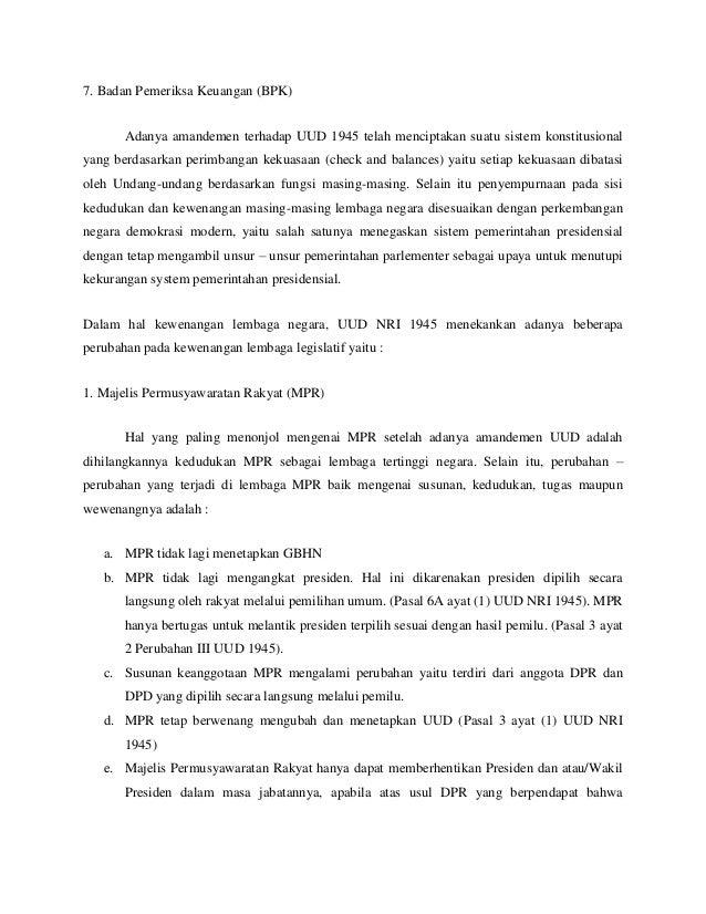 Sebutkan Wewenang Mpr Setelah Amandemen Uud 1945 - Coba ...
