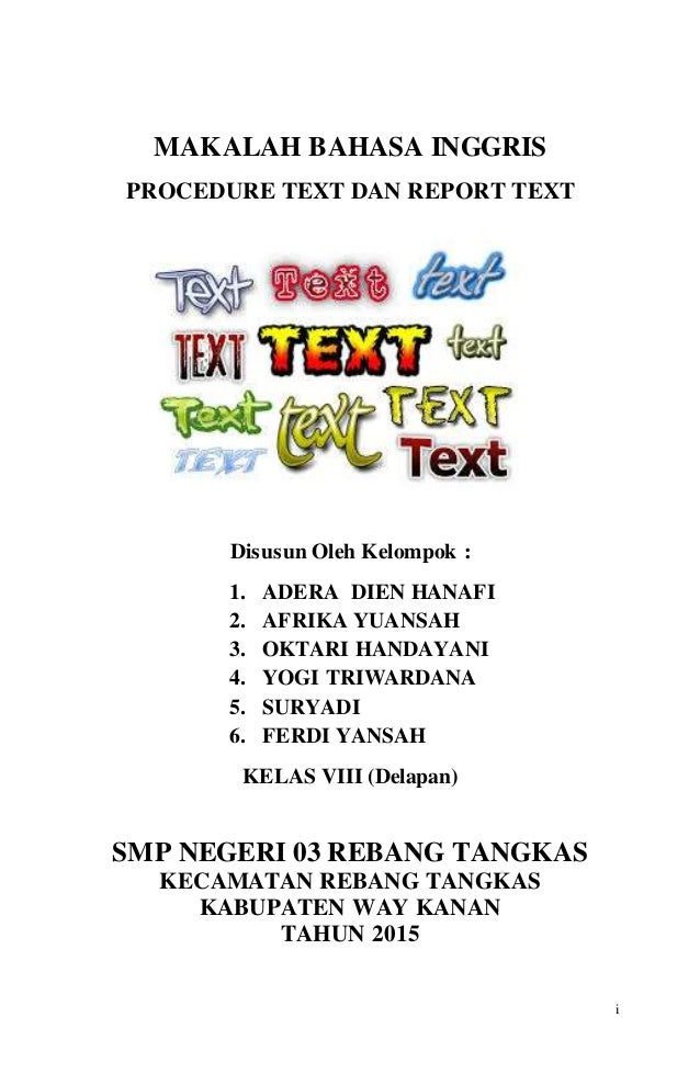 Makalah Procedure Text Dan Report Text V 6