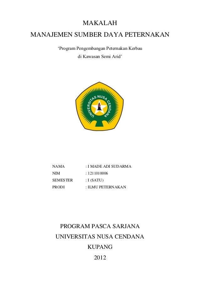 Makalah Program Pengembangan Peternakan Kerbau Di Kawasan Semi Arid B
