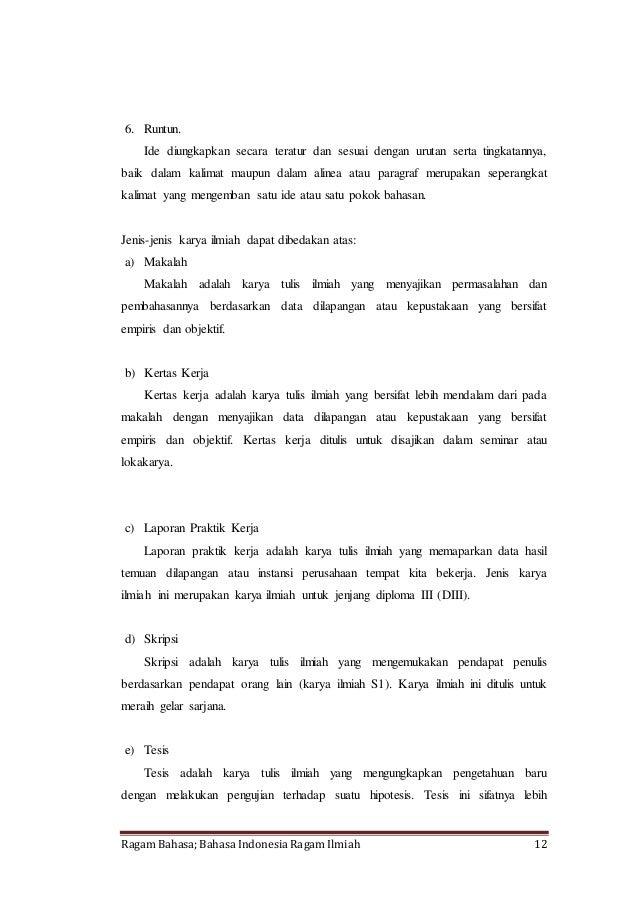 Makalah Ragam Bahasa Bahasa Indonesia Ragam Ilmiah