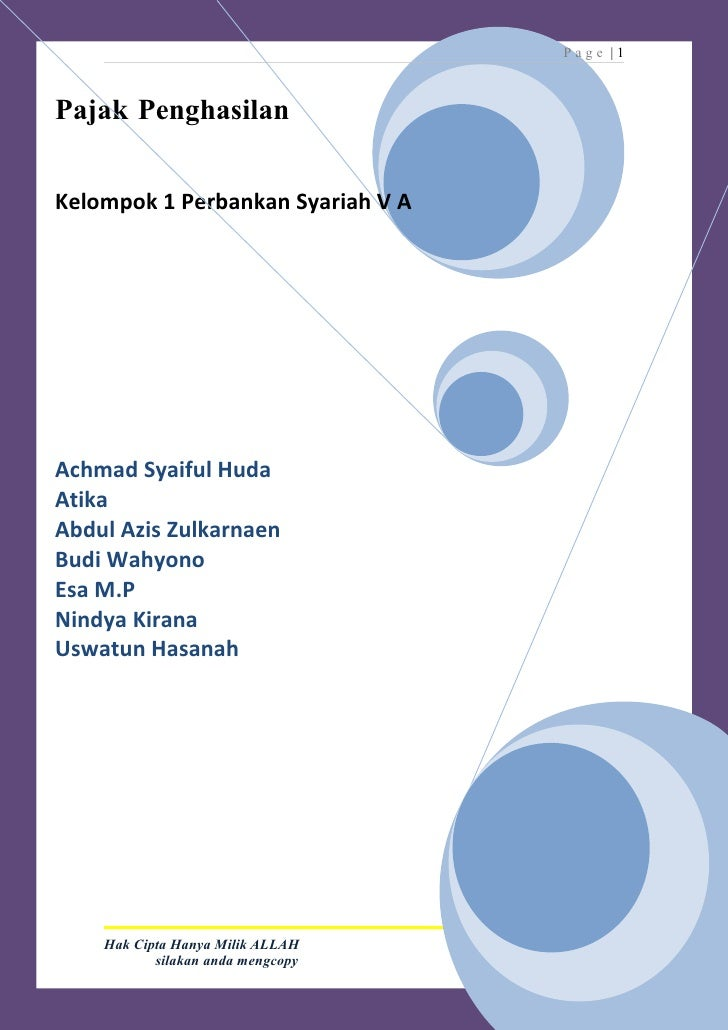 Page |1    Pajak Penghasilan   Kelompok 1 Perbankan Syariah V A     Achmad Syaiful Huda Atika Abdul Azis Zulkarnaen Budi W...
