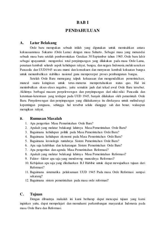 Makalah Sejarah Indonesia Pada Masa Orde Baru Dan Reformasi