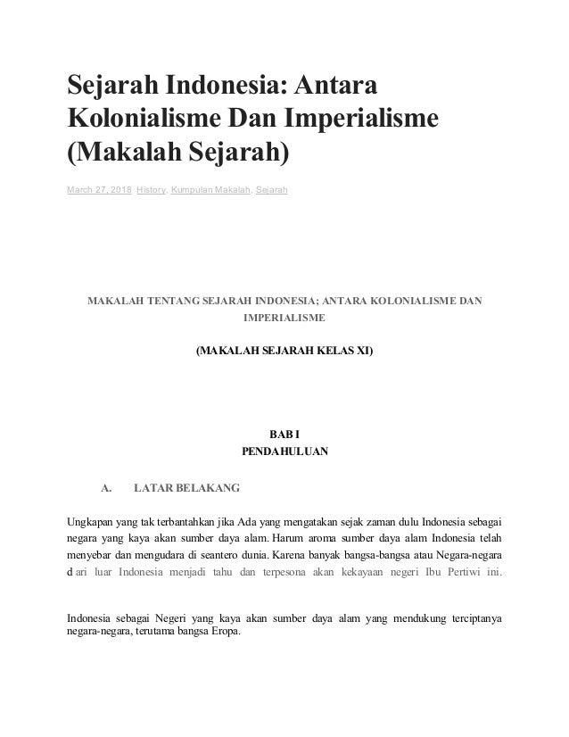 Makalah Sejarah Indonesia Antara Kolonialisme Dan Imperialisme Sma
