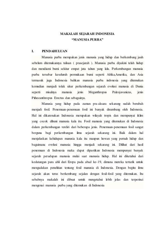 Makalah Sejarah Indonesia Manusia Purba
