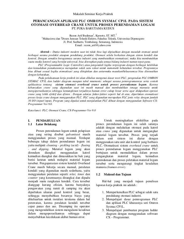 Makalah Seminar Kerja Praktek   PERANCANGAN APLIKASI PLC OMRON SYSMAC CP1L PADA SISTEM  OTOMASI OVERHEAD CRANE UNTUK PROSE...