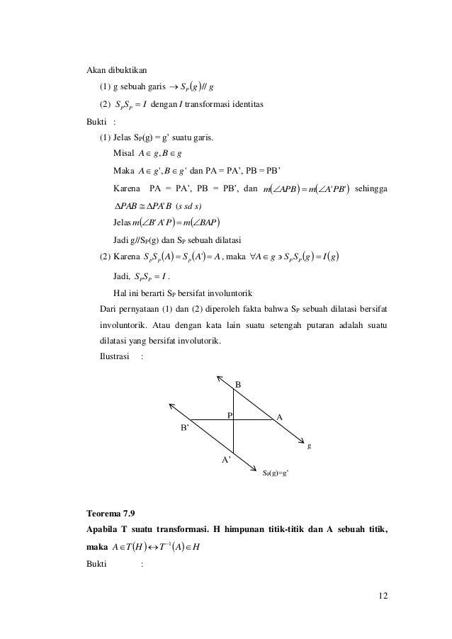 12 Akan dibuktikan (1) g sebuah garis   ggSP // (2) ISS PP  dengan I transformasi identitas Bukti : (1) Jelas SP(g) = ...
