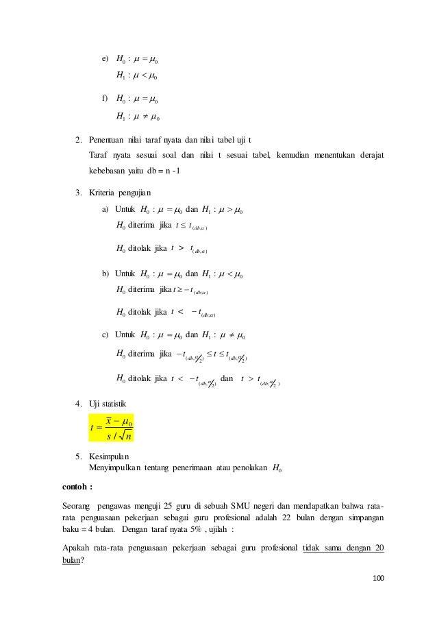 100 e) H0 :   0 H1 :   0 f) H0 :   0 H1 : 0  2. Penentuan nilai taraf nyata dan nilai tabel uji t Taraf nyata ...