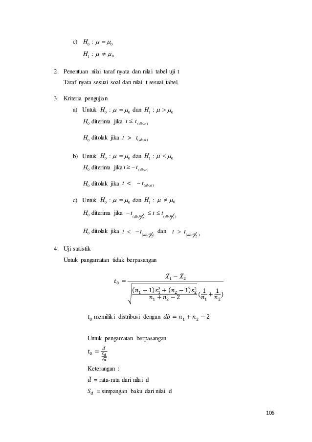 106 c) H0 :   0 H1 : 0  2. Penentuan nilai taraf nyata dan nilai tabel uji t Taraf nyata sesuai soal dan nilai t ses...