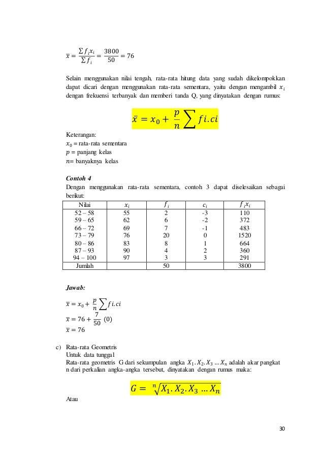 30 𝑥̅ = ∑ 𝑓𝑖 𝑥𝑖 ∑ 𝑓𝑖 = 3800 50 = 76 Selain menggunakan nilai tengah, rata-rata hitung data yang sudah dikelompokkan dapat ...
