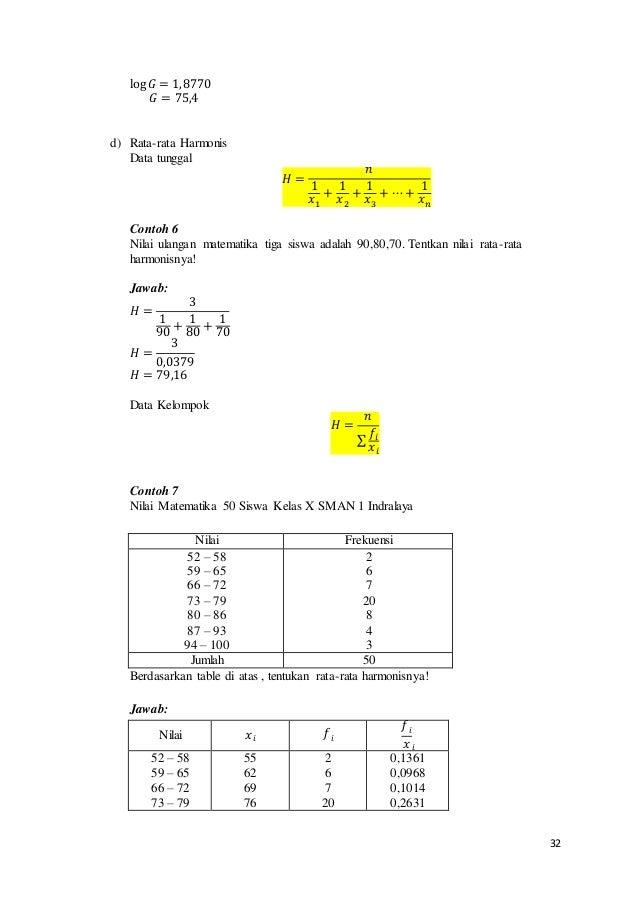 32 log 𝐺 = 1,8770 𝐺 = 75,4 d) Rata-rata Harmonis Data tunggal 𝐻 = 𝑛 1 𝑥1 + 1 𝑥2 + 1 𝑥3 + ⋯+ 1 𝑥 𝑛 Contoh 6 Nilai ulangan m...