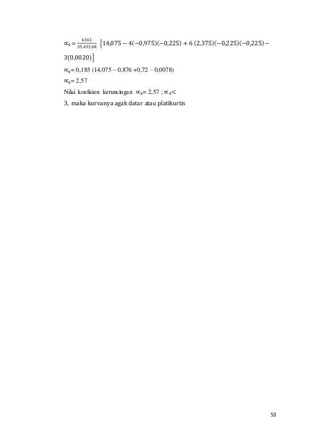 53 ∝4 = 6.561 35.433,68 {14,075 − 4(−0,975)(−0,225) + 6 (2,375)(−0,225)(−0,225)− 3(0,0020)} ∝4= 0,185 (14,075 – 0,876 +0,7...