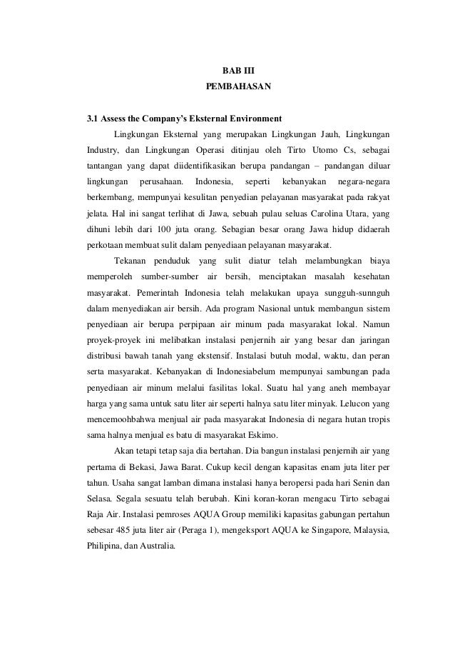 BAB III                                PEMBAHASAN3.1 Assess the Company's Eksternal Environment       Lingkungan Eksternal...