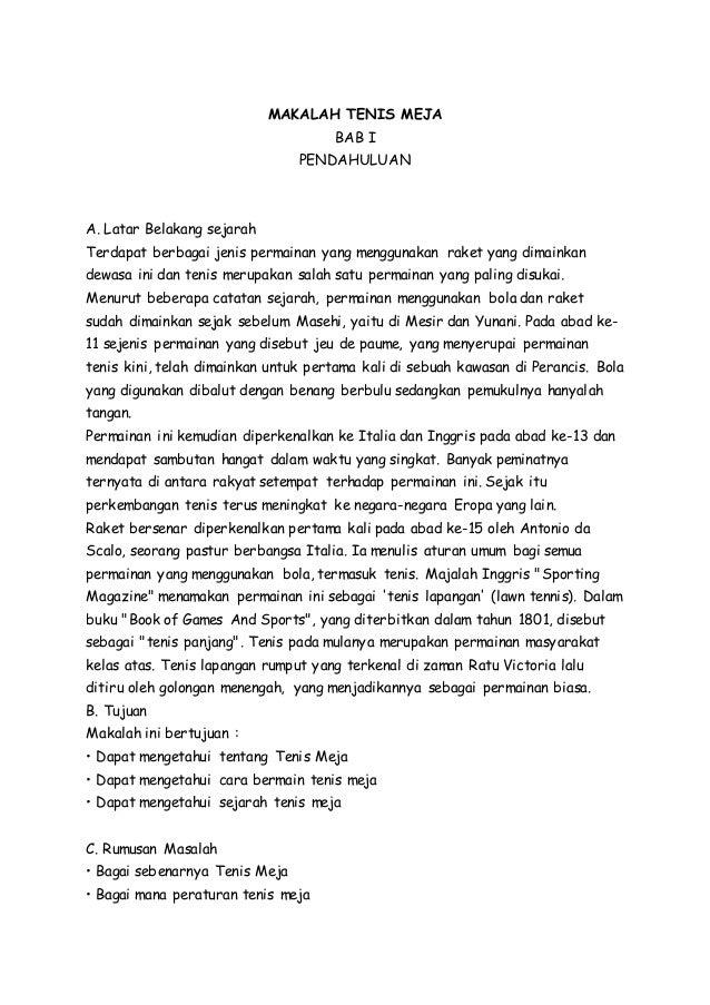 Pdf Makalah Tenis Meja Harlan Hariz Academia Edu