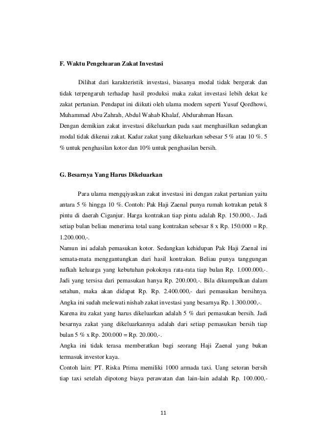 Makalah Zakat Profesi Dan Zakat Investasi Miftah Ll Everafter